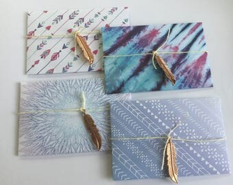 Boho envelopes, feather stationery, Boho cards, snail mail, pen pal, bright pattern, handmade envelopes, bright colour, set of 4