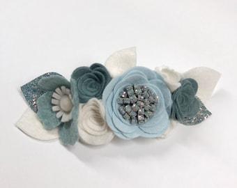 Icy Snow Holiday Flower Crown|| FREE SHIPPING|| Christmas headband, Felt flower crown