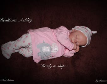 Reborn baby , Ashley, newly released Realborn, cut mouth, ready to ship!