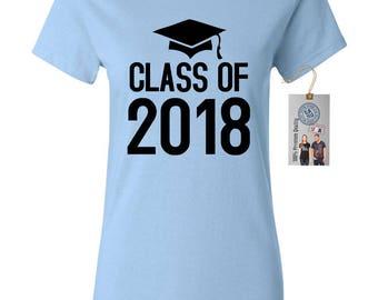 Class of 2018 Graduation Cap Seniors Womens Short Sleeve Tee T Shirt Top
