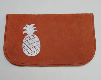 Silver pineapple and orange leather tobacco pouch