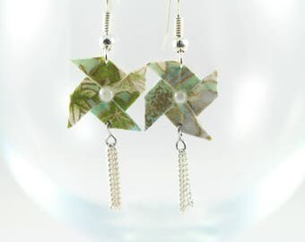 Origami - windmill - Turquoise and gold - Origami - Japanese paper earrings