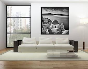 Oversized Wall Art Canvas Print, Church Domes, Santorini Art, Greek Islands Print, Santorini Gift- Church Domes, Sunrise, Santorini, Greece