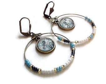 "Creole earrings Pearl boho chic earthy cabochon ""graphic minimalist Scandinavian blue"" pattern, glass cabochons"