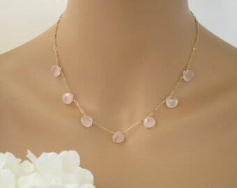 Wedding necklace, Blush and gold bridal necklace, Rose quartz gemstone necklace, Unique pink necklace
