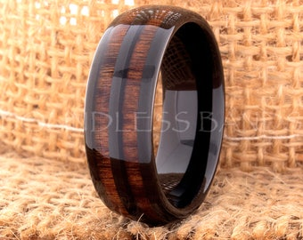 Tungsten Ring Tungsten Wedding Ring Men Women Wedding Bands Koa Wood Inlay Ring Dome Promise Anniversary Engagement 8mm Matching Ring Set
