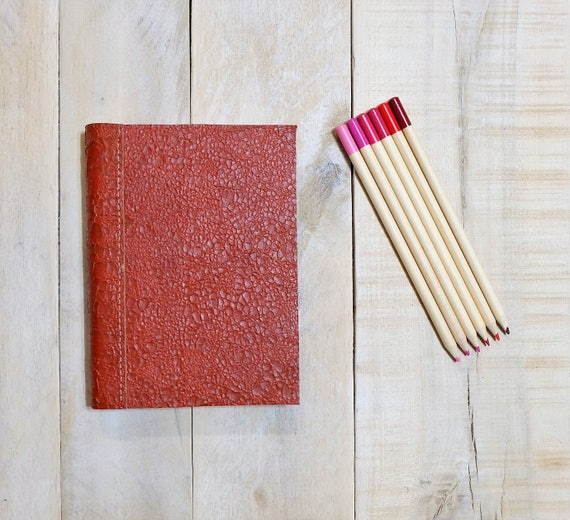 Leather Sketchbook - Distressed Red Leather