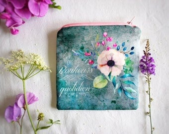Petite pochette fleurs, porte-monnaie en tissu pour femme, idée cadeau pour elle, jolie trousse maquillage, fleurs aquarelle sur tissu