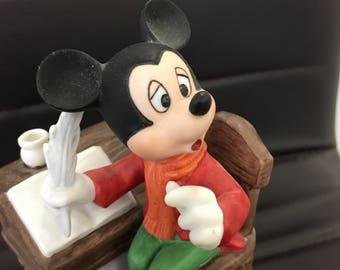 "Vintage Disney Schmid Mickey Mouse Ceramic Porcelain Walt Disney Rotating ""A Christmas Carol"" Music Box ,Walt Disney collectable Figurine,"