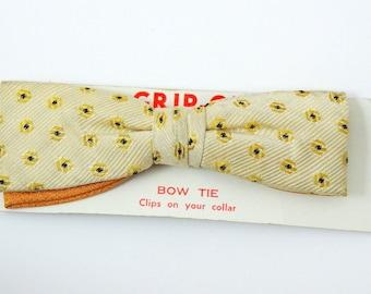 Vintage Clip On Bow Tie 1950s Yellow Black Polka Dot Art Deco Bowtie