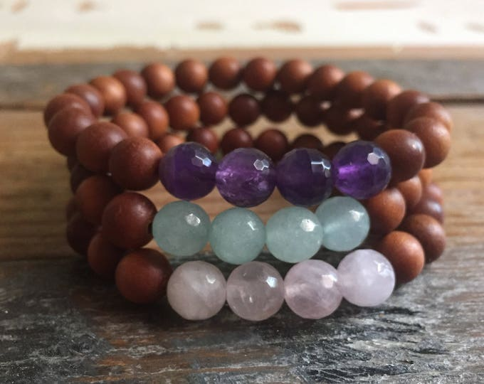 Stackable Mala Inspired Spiritual Junkies Sandalwood + Choice of Amethyst, Rose Quartz or Amazonite Yoga Bracelet (single bracelet)