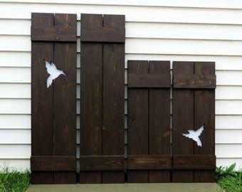 Wood shutters, rustic cabin decor, rustic shutters, exterior shutters, decorative shutters, window shutters, custom shutters, wooden art