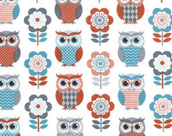 Owl print poly cotton fabric by the YARD