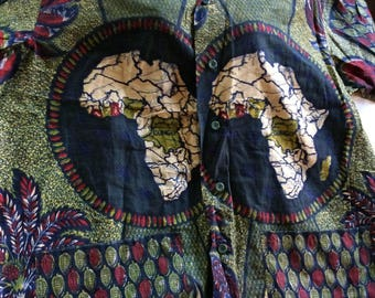Africa Shirt,Africa Top,Africa Blouse,Congo Top,Africa Cotton Top,Africa Present,Congo Clothing,Retro Africa Top,Africa Gift,Africa Clothing