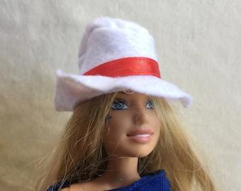 Barbie White Hat,Barbie White Red Hat,Barbie Hat,Barbie Cap,Barbie Accessory,Barbie Doll Beret,Barbie Collection,Barbie Wardrobe,Barbie Gift