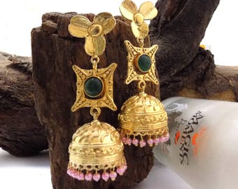 Designer earring,pink beaded earring,jhumka earring,long earring,green gemstone earring,gold plated earring,gift for her