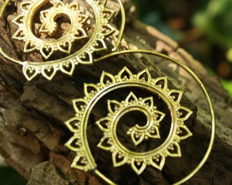 NEW Fibonacci Spiral Tribal Traditional Indian Leaves Brass Wire Earring 35mm