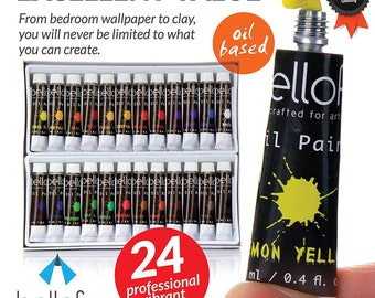 Bellofy 24-Color Oil Paint Set - 24 x 12 ml / 0.4 oz - Oil Paint Kit For Artists and Beginners
