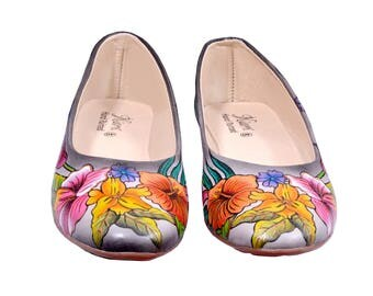 Hand Painted Genuine Leather Ballerinas - Pink Paradise