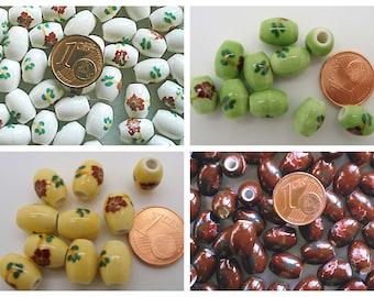 10 Perles Ovales 10x8mm Porcelaine motif Fleurs fond au choix DIY création bijoux