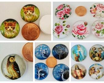 Cabochons verre Motifs images diverses illustrations papillons arbres fleurs roses hibou chouette Chat chaton Religieuses pieuses