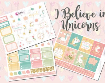 I Believe in Unicorns - Sticker Kit, Pretty Pastels, Unicorns, Planner Stickers for ECLP, Happy Planner, Filofax, Kikki.K TN's etc