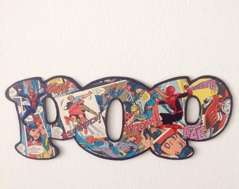 ON SALE 15% OFF Cardboard letters, comic book letters Pop, vintage comic book wall art, Spiderman collage art, pop art comic, kids room deco