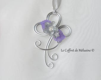 "Pendant flowers and purple leaves ""Hester"" silver"