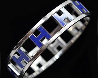Vintage Retired Hermes H Bangle Blue Enamel Multiple H's Swivel Reverse (#6258)