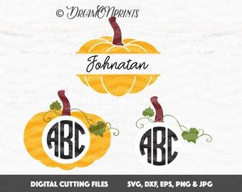 Pumpkin Svg, Pumpkin Monogram Svg, Jack O Lantern Svg, Monogram Svg, Halloween Svg Thanksgiving, Monogram Frames Cut Files SVDP337