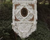 Handwoven Wall Hanging Embroidery Butterfly Ornate Lace Oval