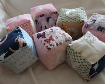 Fabric baby blocks, name and alphabet, soft cotton blocks,