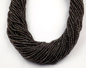 "2 Strand Smoky Quartz Rondelle 2.20mm Micro Faceted Gemstone Beads 13"" Long"
