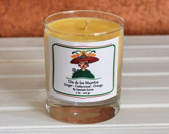 Ginger, Cedarwood and Orange Vegan candle. Dia de los Muertos Dead of the Day Vegan candle. Perfect gift idea for super Mum - Mother's day