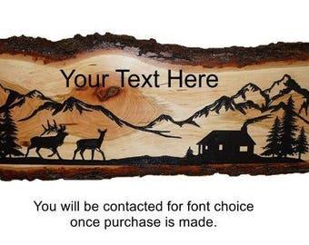 Elk Decor, Elk Sign, Rustic Elk Sign, Personalized Sign, Live Edge Cherry Wood, Rustic Wood Sign, Wood Sign, Rustic Sign,  Engraved Sign