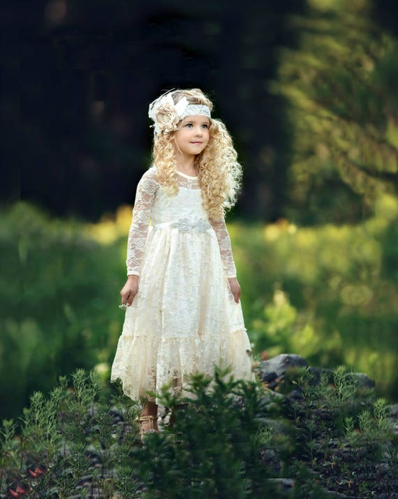 Long sleeved lace dresses girls