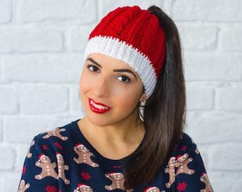 Ponytail hat, christmas hat, santa claus hat, messy bun hat, christmas beanie, running hat, ponytail beanie, womens beanies, knit bun hats