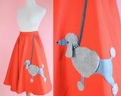 Orange Poodle Skirt // Vintage 50s Style, Sockhop, Grey Poodle, Circle Skirt, Grease Costume Women Size Medium