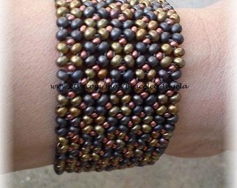 Bracelet, handmade beadwork, flat bracelet with Czech glass seed beads, toggle clasp. Cuff bracelet.(#379)