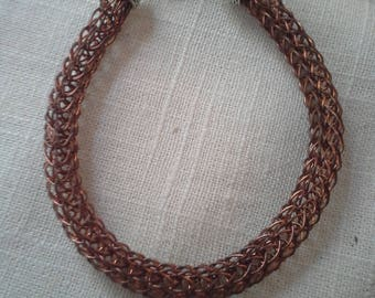 Silver Trimmed Copper Viking Knit Bracelet