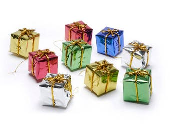 Assorted color foil gift boxes. Mini tree ornaments measure approximately 1.5 inches.  Nine pieces per package. six colors Christmas gifts