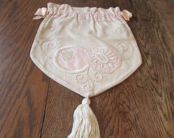 Vintage  Embroidered Ribbon Bag Sewing Laundry Delicates Lingerie Repurpose Purse