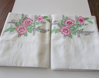 Pair Vintage Pillowcases Pink Embroidery Embroidered Floral Flowers Pillowcase