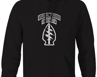 Special Forces Airborne Tabs Military  Hooded Sweatshirt- Z122