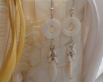 Mystical Geometric Shell Chandeliers- Exotic Shell Dangles- White Shell Chandelier Earrings- Tribal Shell Earrings- Mystical- Tribal