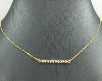14K Yellow Gold Tri-Color Diamond Cut Beads Necklace