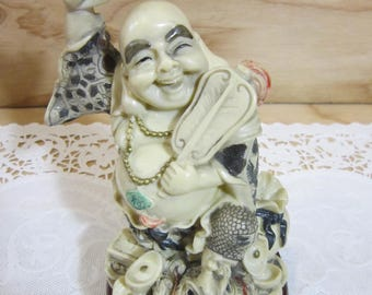 Vintage Good Fortune Laughing Buddha With Money Frog Presented in a Wooden Base