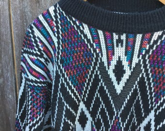 Men's Medium Hipster Sweater - Vintage Sweater with Leather Patches - McGregor Sweater - Men's Size Medium - Geometric Sweater
