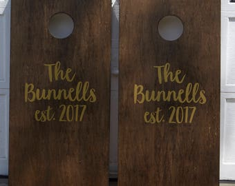 Custom Cornhole Boards ONLY - Bean Bag Toss - Metallic Gold Decals