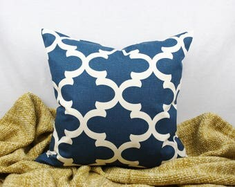 Blue and Ivory Geometric Pillow Cover, 18 x 18 in., 20 x 20 in., Modern, Home Decor Cotton Duck, Toss Pillow, Throw Pillow, Accent Pillow
